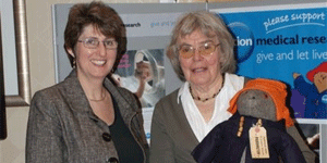 Karen Jankel with the late Shirley Clarkson who made the first Paddington Bear